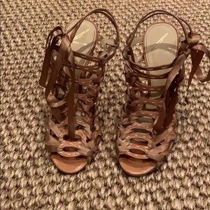 B Brian Atwood nude strappy heels